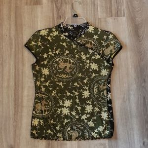 Black/green Anac japanese style top size small